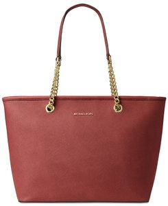 Michael Kors Travel Leather Brick Multifunction Tote in Red