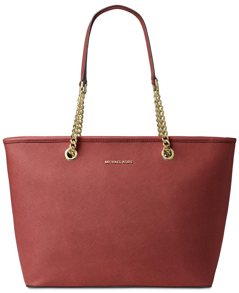 a87b04f68465 Michael Kors Jet Set Travel Top Zip Chain Multifunction Red Leather Tote
