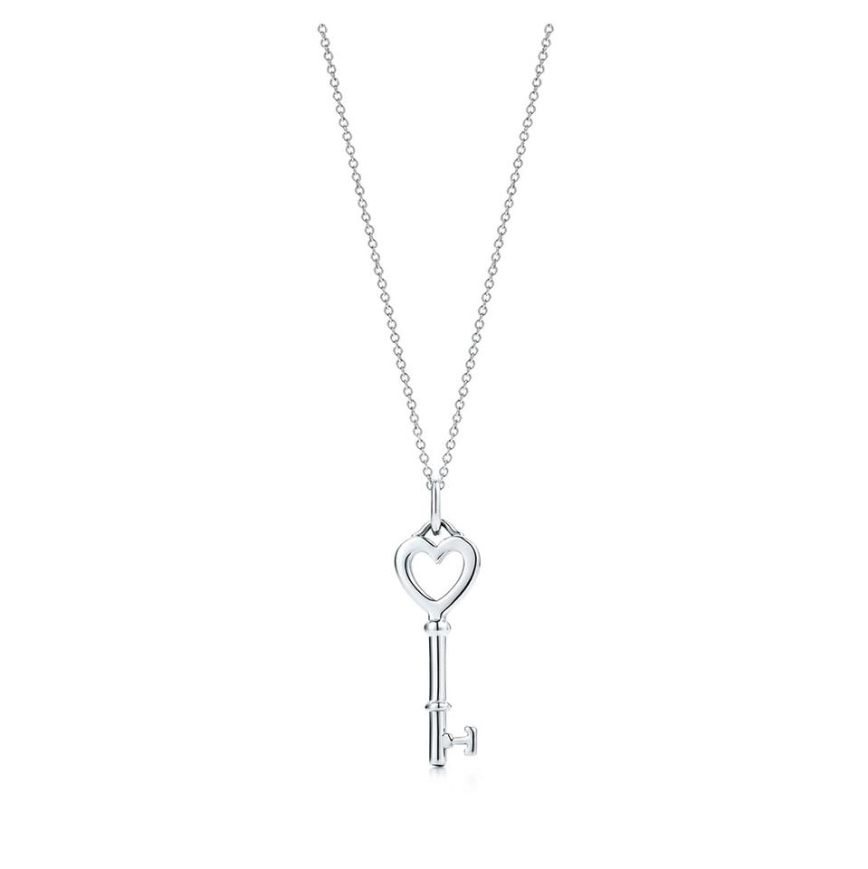 Tiffany co silver heart key pendant and chain necklace tradesy tiffany co heart key pendant and chain aloadofball Image collections