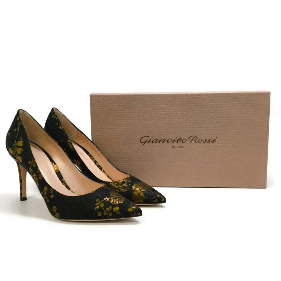 06587269f4f3 Gianvito Rossi Black   Gold Kyoto Satin Pumps Size EU 40 (Approx. US ...