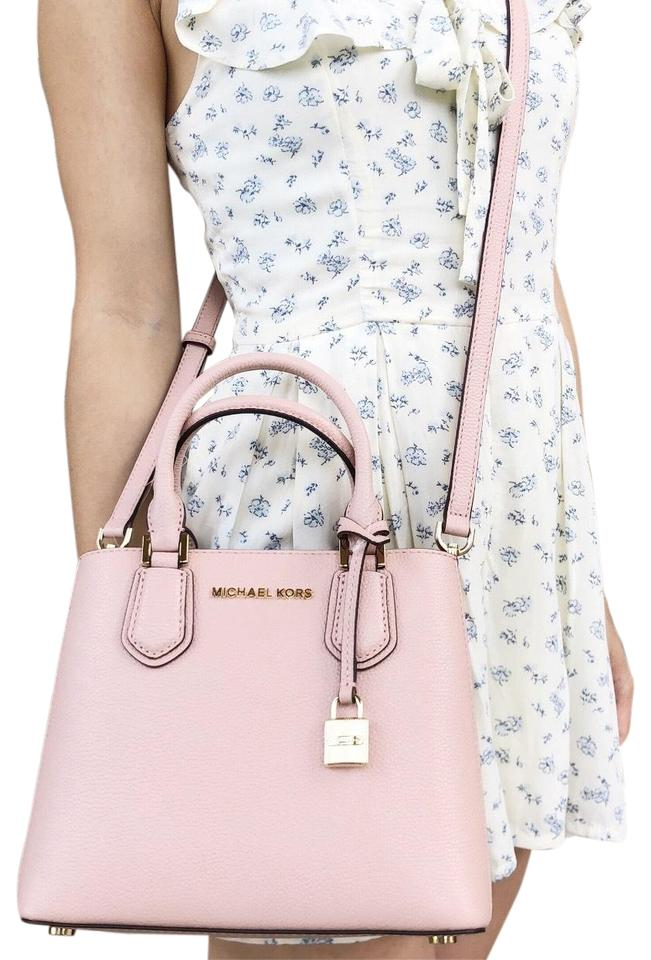 340cbfe99fe3 Michael Kors Adele Mercer Messenger Leather Satchel in Pastel Pink Image 0  ...