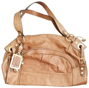 B Markowsky Satchel in Tan leather polished gold hardware