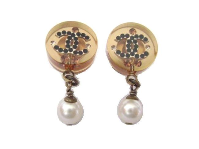 Item - Gold Plated W/ Brown Cc Crystal Logos Crystal W/Pearl Dangle Pierced Earrings