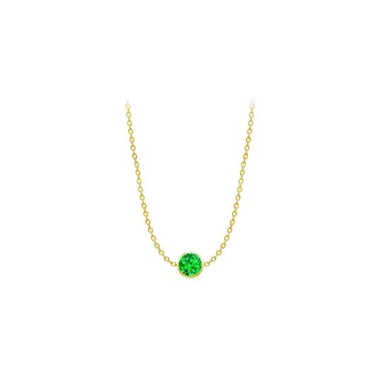 Preload https://img-static.tradesy.com/item/23924746/green-created-emerald-14k-yellow-gold-bezel-set-100-cttw-necklace-0-0-540-540.jpg