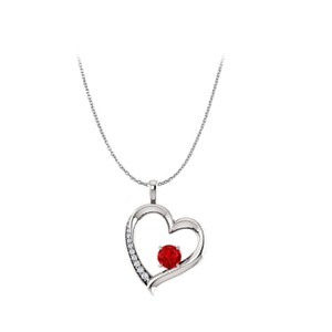 DesignerByVeronica Round Ruby and Cubic Zirconia Open Heart Pendant Silver
