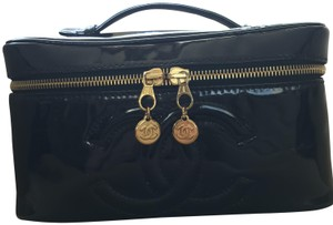 Chanel Rare Train Case Cosmetic Black Travel Bag