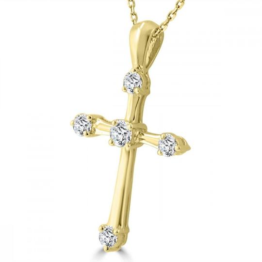 Madina Jewelry Yellow W 0.50 Ct T.w. Ladies Round Cut Diamond Cross Pendant Necklace Image 3