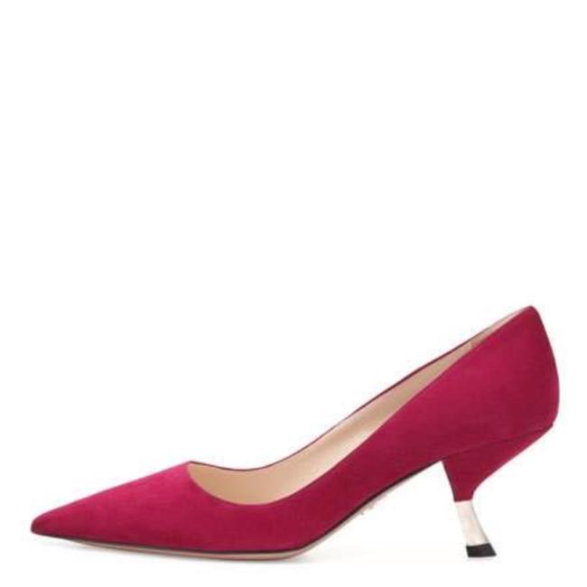 Item - Fuchsia Pink Suede Pointed Kitten Heels Pumps Size EU 37 (Approx. US 7) Regular (M, B)