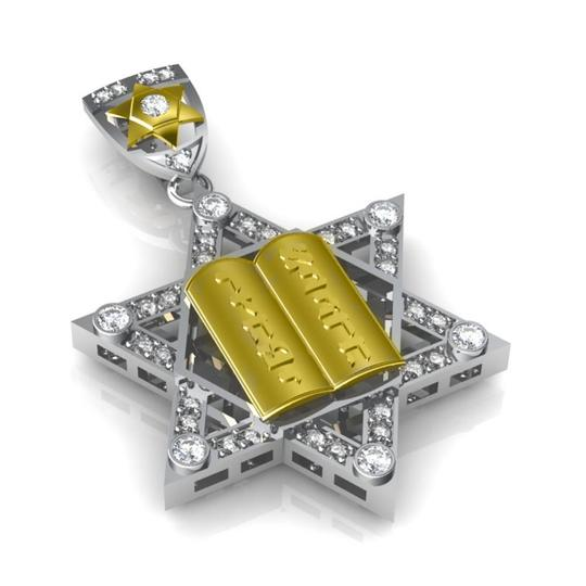 Madina Jewelry Two Tone W 1.50 Ct T.w. Round Cut Diamond Star Of David Pendant Necklace Image 1