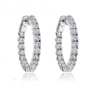 Madina Jewelry White 1.50 Ct Ladies Round Cut Diamond Hoop Huggie Earrings