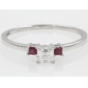 14k White Gold Gia Certified .60 Carat Asscher Cut Stone Engagement Ring