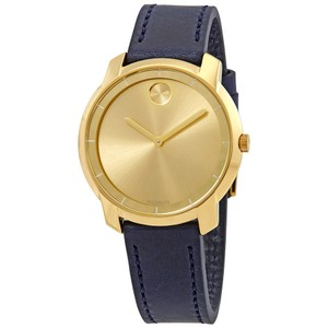 Movado Bold Sunray Dial Ladies Leather Watch