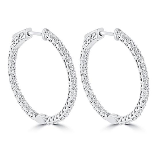 Madina Jewelry White 1.65 Ct Ladies Round Cut Diamond Hoop In 14 Kt Gold Earrings