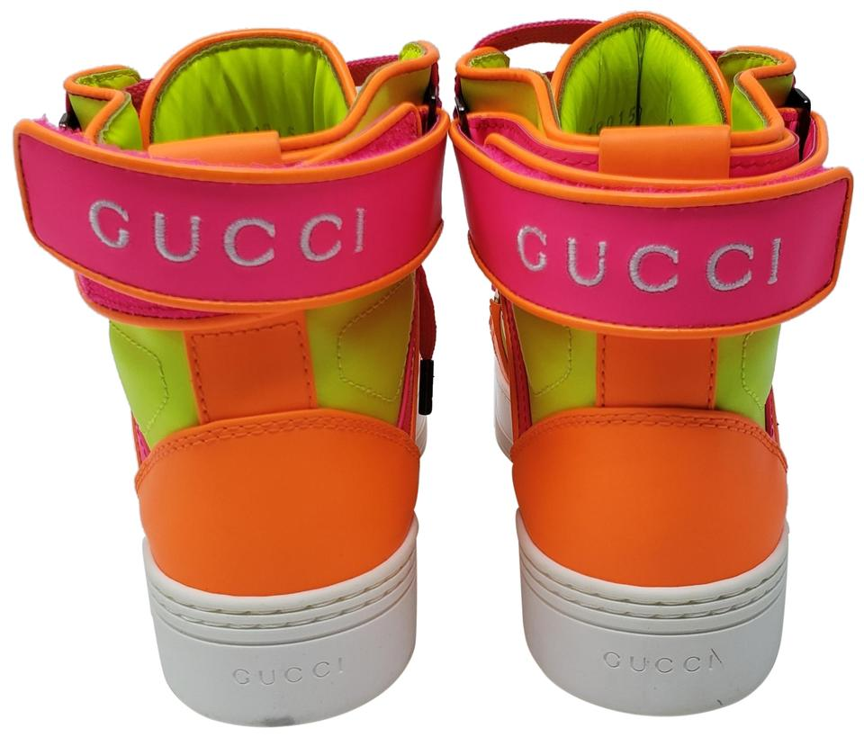 5f05ef32d2a Gucci Multicolor Neon Pink Coated Leather Round-toe High-top Sneakers  Sneakers