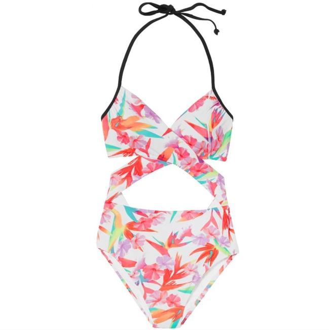 PINK white floral one piece Image 1