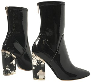 Dior Patent Leather Stretchy Perspex Heels Black Boots