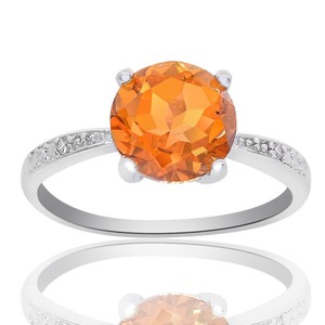 Avital & Co Jewelry Sterling Silver Citrine And Diamond Accent Ring