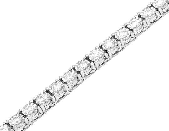 Jewelry Unlimited Mens 10K White Gold 1 Row Tennis Choker Diamond Chain Necklace 10.15ct Image 1