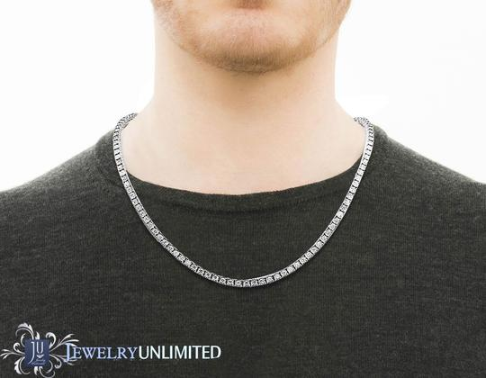 Jewelry Unlimited Mens 10K White Gold 1 Row Tennis Choker Diamond Chain Necklace 10.15ct Image 4