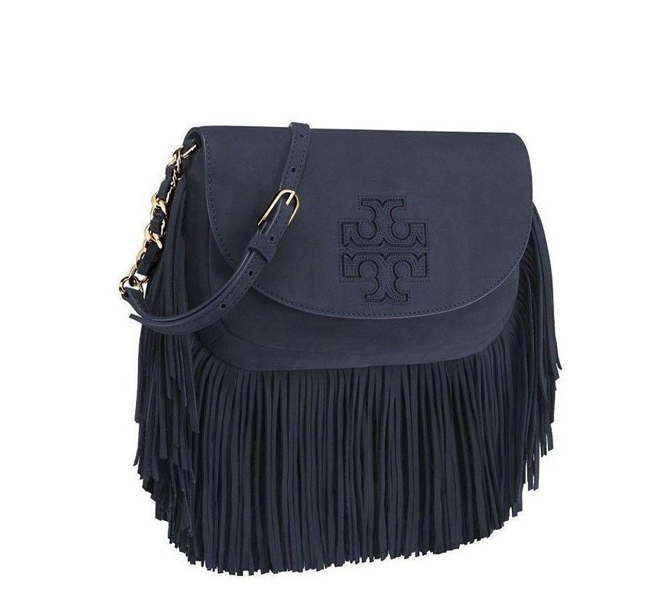 cbf70106135 Tory Burch Harper New Fringe Logo Suede Purse Rare Navy Blue Leather Cross  Body Bag