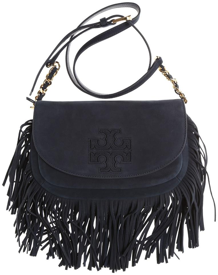 fd8e7f07331 Tory Burch Harper New Fringe Logo Suede Purse Rare Navy Blue Leather Cross  Body Bag - Tradesy