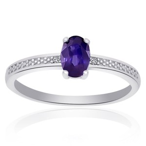 Avital & Co Jewelry Sterling Silver Amethyst Diamond Accent Ring