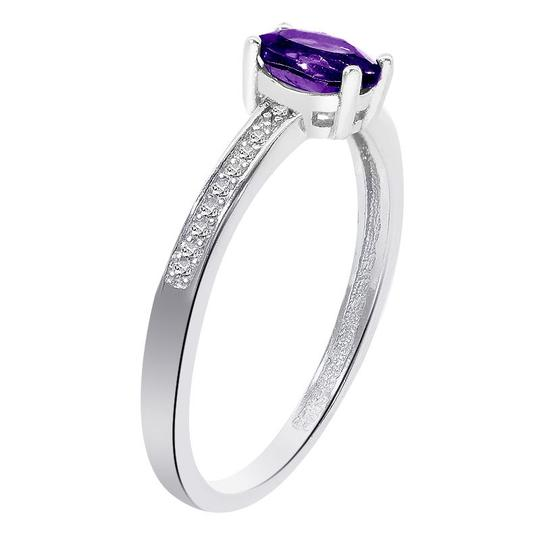 Avital & Co Jewelry Sterling Silver Amethyst Diamond Accent Ring Image 1