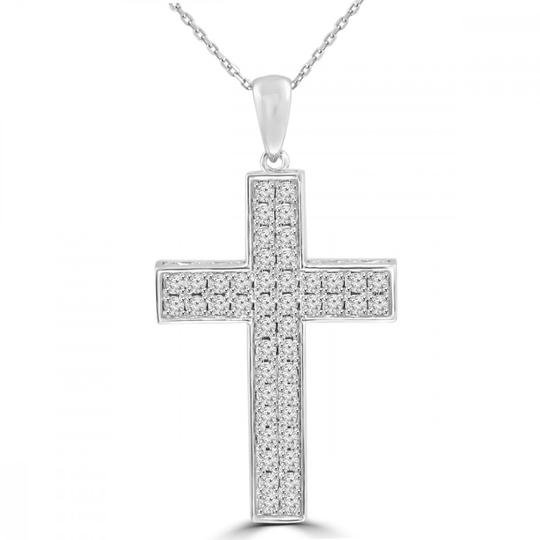 Preload https://img-static.tradesy.com/item/23925346/white-161-ct-tw-round-cut-diamond-cross-pendant-14-kt-gold-necklace-0-0-540-540.jpg