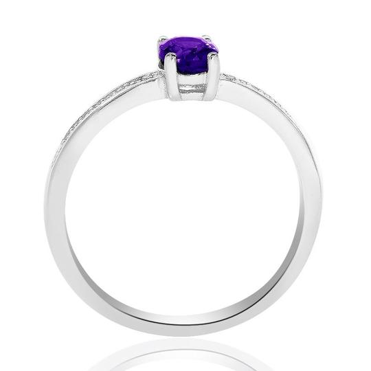 Avital & Co Jewelry Sterling Silver Amethyst Diamond Accent Ring Image 2
