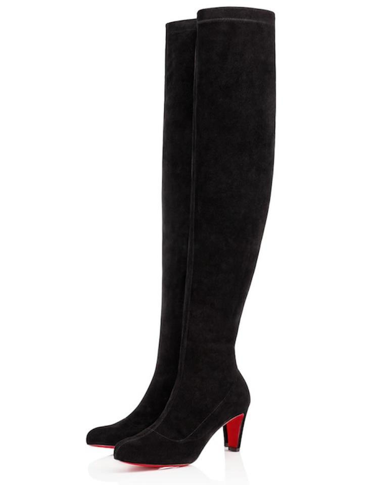 e66257a0a00 Christian Louboutin Black Alta Top 70 Suede Stretchy Thigh High Over Knee  Tall Kitten Boots/Booties Size EU 36 (Approx. US 6) Regular (M, B)