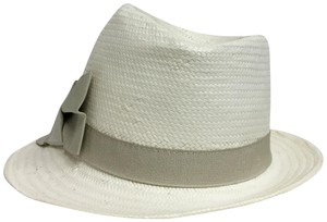1aba1cd8586 Armani Collezioni Off White Panama with Grey Grosgrain Ribbon Hat ...