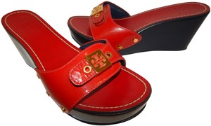 Tory Burch Rosie Slides Platform Red Wedges