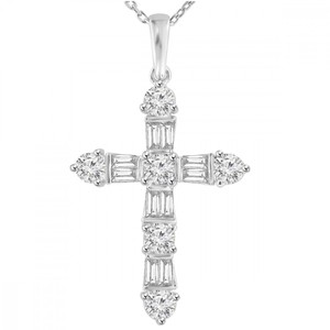 Madina Jewelry White W 2.05 Ct T.w. Ladies Round and Baguette Cut Diamond Cross Pendant Necklace