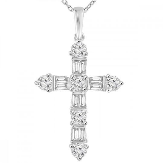 Preload https://img-static.tradesy.com/item/23925517/white-205-ct-tw-ladies-round-and-baguette-cut-diamond-cross-pendant-necklace-0-0-540-540.jpg