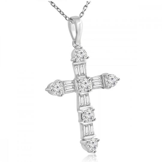 Madina Jewelry White W 2.05 Ct T.w. Ladies Round and Baguette Cut Diamond Cross Pendant Necklace Image 1