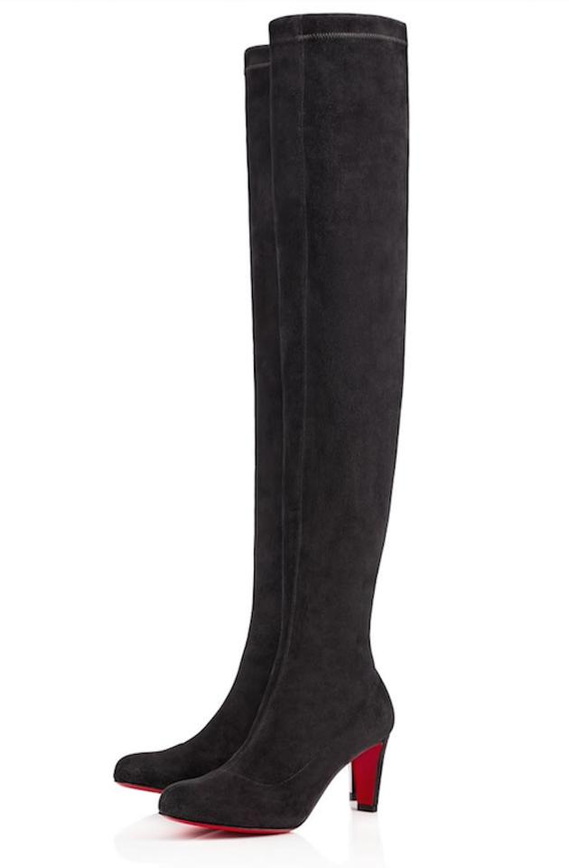 buy popular 5fb69 abbd1 Christian Louboutin Grey Alta Top 70 Fusain Suede Stretchy Thigh High Over  Knee Tall Boots/Booties Size EU 37.5 (Approx. US 7.5) Regular (M, B)