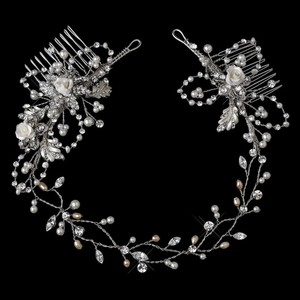 Elegance by Carbonneau Rhodium Silver Or Gold Vintage Vine with Side Accents Hair Accessory