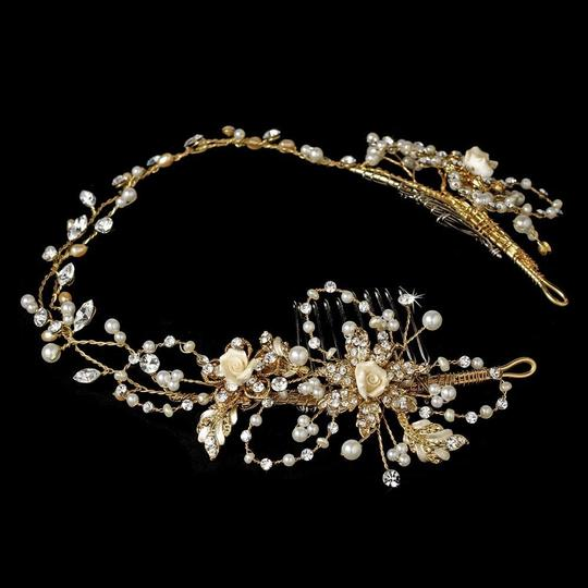 Elegance by Carbonneau Rhodium Silver Or Gold Vintage Vine with Side Accents Hair Accessory Image 1