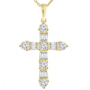 Madina Jewelry Yellow W 2.05 Ct T.w. Ladies Round and Baguette Cut Diamond Cross Pendant 14k Necklace