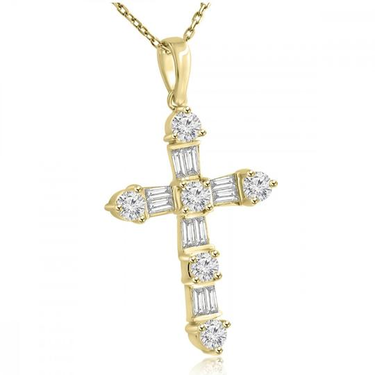 Madina Jewelry Yellow W 2.05 Ct T.w. Ladies Round and Baguette Cut Diamond Cross Pendant 14k Necklace Image 1