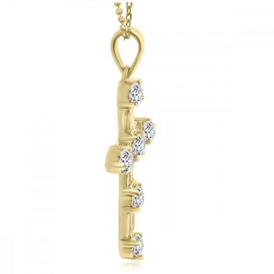 Madina Jewelry Yellow W 2.05 Ct T.w. Ladies Round and Baguette Cut Diamond Cross Pendant 14k Necklace Image 2