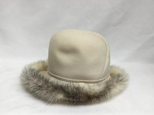 Mr. John Cream felt hat with mink trim Image 3