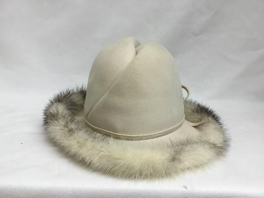 Mr. John Cream felt hat with mink trim Image 4