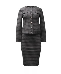 Donna Degnan Donna Degnan Plaid Jacket and Skirt Suit Set Navy Grey Sz XS