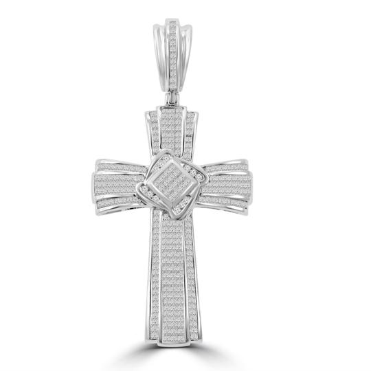 Preload https://img-static.tradesy.com/item/23925607/white-525-ct-tw-men-s-princess-cut-invisible-set-diamond-cross-pendant-necklace-0-0-540-540.jpg