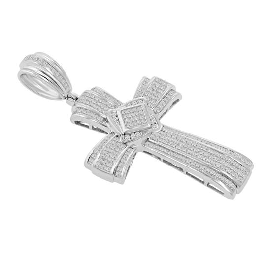 Madina Jewelry White W 5.25 Ct T.w. Men's Princess Cut Invisible Set Diamond Cross Pendant Necklace Image 1