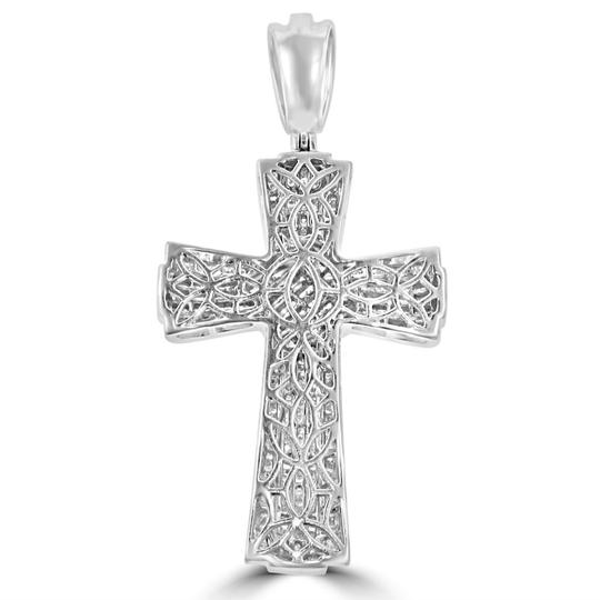 Madina Jewelry White W 5.25 Ct T.w. Men's Princess Cut Invisible Set Diamond Cross Pendant Necklace Image 3