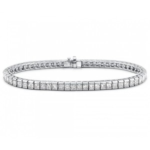 Madina Jewelry White 5.00 Ct Princess Cut Diamond Tennis Channel Setting Bracelet
