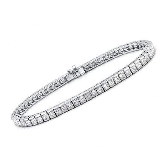 Madina Jewelry White 5.00 Ct Princess Cut Diamond Tennis Channel Setting Bracelet Image 1