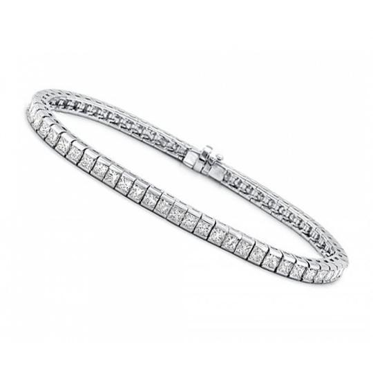 Madina Jewelry White 5.00 Ct Princess Cut Diamond Tennis Channel Setting Bracelet Image 2